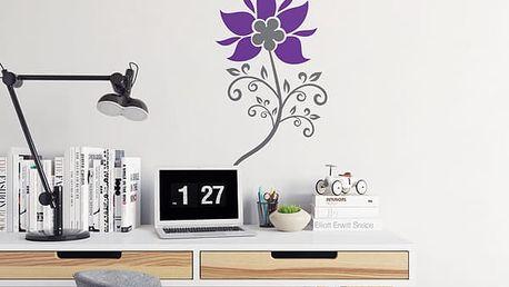 GLIX Květinová dekorace - samolepka na zeď Šedá a fialová 30 x 55 cm