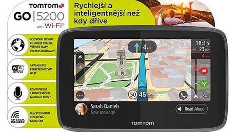 Navigační systém GPS Tomtom GO 5200 World, Wi-Fi, LIFETIME mapy (1PL5.002.01) černá Dron Parrot Rolling Spider, bílý (zdarma) + Doprava zdarma