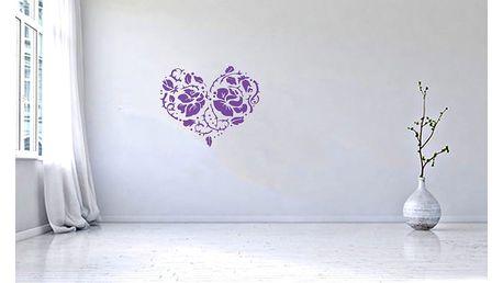 GLIX Srdce z růží - samolepka na zeď Fialová 75 x 60 cm