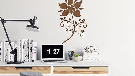 GLIX Květinová dekorace - samolepka na zeď Hnědá 20 x 40 cm