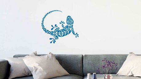 GLIX Gekon - samolepka na zeď Ledově modrá 75 x 65 cm