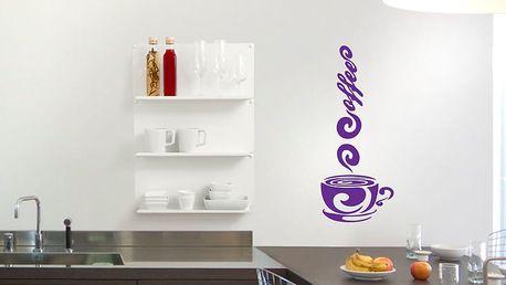 GLIX Káva - samolepka na zeď Fialová 20 x 50 cm