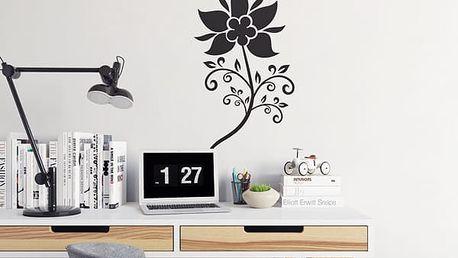 GLIX Květinová dekorace - samolepka na zeď Černá 20 x 40 cm