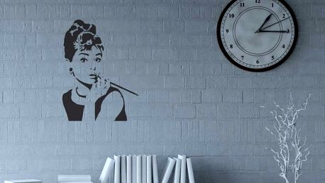 GLIX Audrey Hepburn - samolepka na zeď Černá 90 x 120 cm
