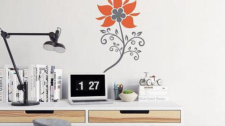 GLIX Květinová dekorace - samolepka na zeď Šedá a oranžová 20 x 40 cm