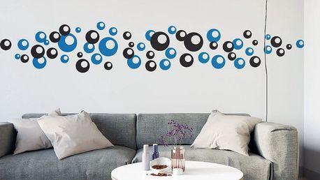 GLIX Bubliny dvoubarevné - samolepka na zeď Černá a modrá 2 x 30 x 30 cm