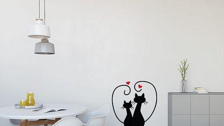 GLIX Zamilované kočky - samolepka na zeď Černá a červená 30 x 31 cm