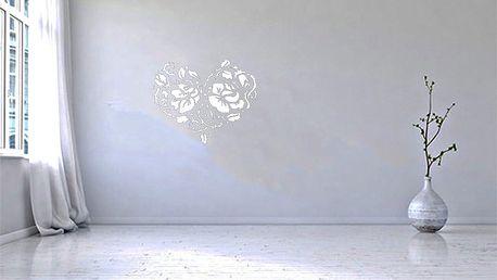 GLIX Srdce z růží - samolepka na zeď Bílá 75 x 60 cm