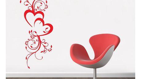 GLIX Květinová dekorace - samolepka na zeď Světle červená 50 x 120 cm