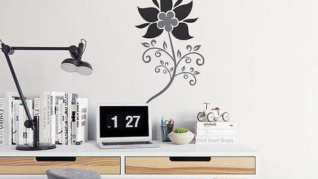 GLIX Květinová dekorace - samolepka na zeď Šedá a černá 30 x 55 cm