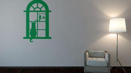GLIX Kočka za oknem - samolepka na zeď Světle zelená 50 x 75 cm