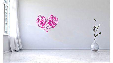 GLIX Srdce z růží - samolepka na zeď Růžová 75 x 60 cm