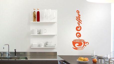 GLIX Káva - samolepka na zeď Oranžová 30 x 75 cm