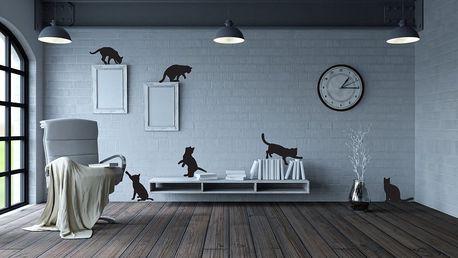 GLIX Kočky - samolepka na zeď Černá sada 6ks 40 x 40 cm