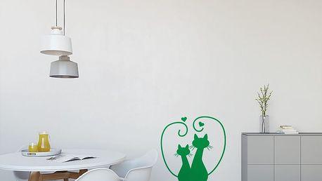 GLIX Zamilované kočky - samolepka na zeď Světle zelená 30 x 31 cm