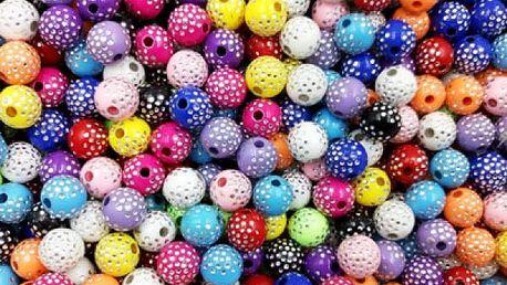 Puntíkované korálky 100 ks/8 mm - mix barev - dodání do 2 dnů