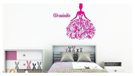 GLIX Princezna - samolepka na zeď Růžová 40 x 50 cm