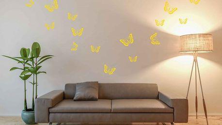 GLIX Motýli - samolepka na zeď Žlutá 95 x 17 cm