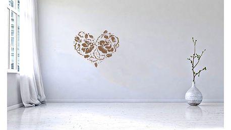 GLIX Srdce z růží - samolepka na zeď Hnědá 50 x 41 cm