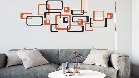 GLIX Čtverce - samolepka na zeď Černá a oranžová 2 x 30 x 30 cm