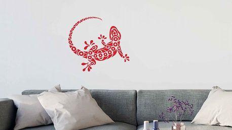 GLIX Gekon - samolepka na zeď Světle červená 75 x 65 cm