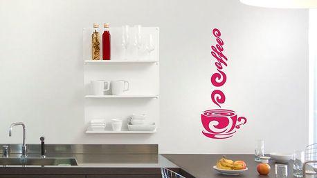 GLIX Káva - samolepka na zeď Růžová 20 x 50 cm