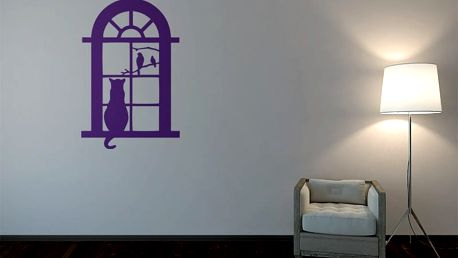 GLIX Kočka za oknem - samolepka na zeď Fialová 70 x 100 cm
