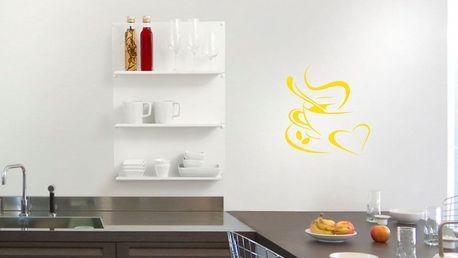 GLIX Káva - samolepka na zeď Žlutá 30 x 30 cm