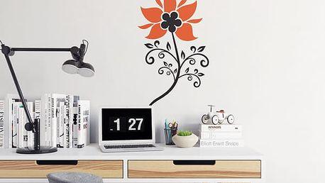 GLIX Květinová dekorace - samolepka na zeď Černá a oranžová 20 x 40 cm