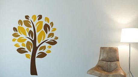 GLIX Strom III. - samolepka na zeď Žlutá 100 x 130 cm
