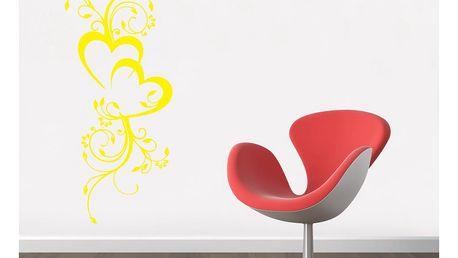 GLIX Květinová dekorace - samolepka na zeď Žlutá 50 x 120 cm