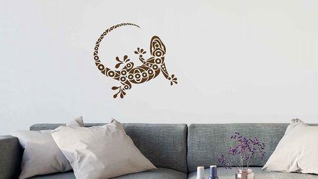 GLIX Gekon - samolepka na zeď Hnědá 40 x 35 cm