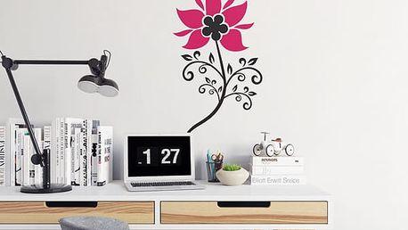 GLIX Květinová dekorace - samolepka na zeď Černá a růžová 50 x 90 cm