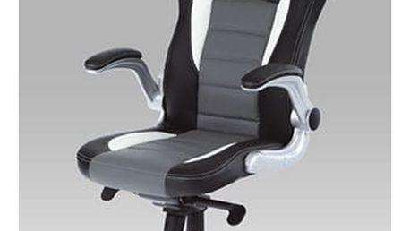 Kancelářská židle s nastavitelnými područkami KA-E240B GREY - černo-šedá koženka