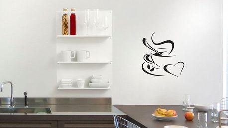 GLIX Káva - samolepka na zeď Černá 50 x 55 cm