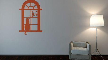 GLIX Kočka za oknem - samolepka na zeď Oranžová 50 x 75 cm