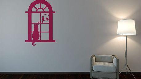 GLIX Kočka za oknem - samolepka na zeď Růžová 70 x 100 cm