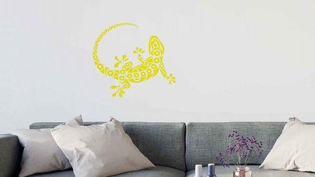 GLIX Gekon - samolepka na zeď Žlutá 75 x 65 cm