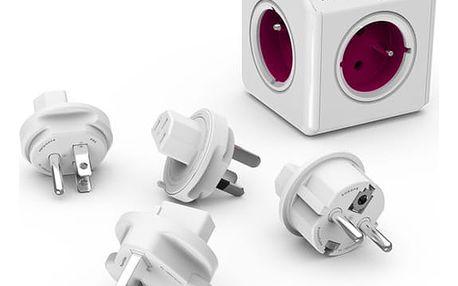 PowerCube REWIRABLE + Travel Plugs rozbočka 5 zásuvka, růžová