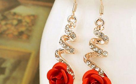 Dámské visací náušnice - červené růže - dodání do 2 dnů
