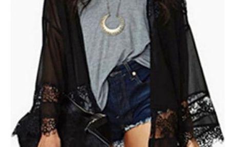 Lehký krajkový cardigan - Černá-velikost č. 3