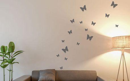 GLIX Motýli - samolepka na zeď Šedá 95 x 10 cm