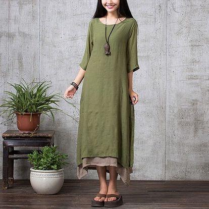 Dámské bavlněné maxi šaty v nadměrných velikostech - zelená, velikost 4