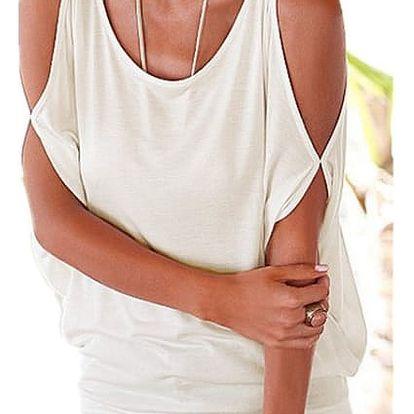 Dámské plus size tričko s otvory na ramenou - bílá, velikost 4