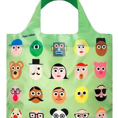 Skládací nákupní taška s kapsičkou LOQI Faces