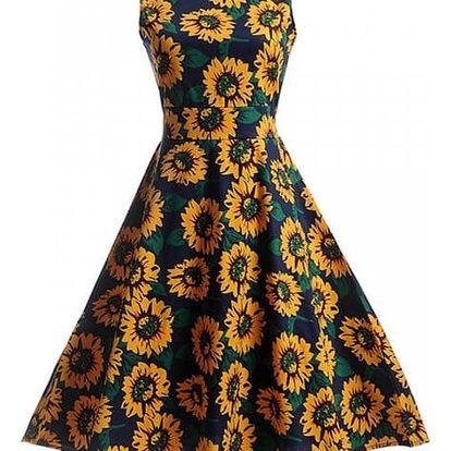 Květinové retro šaty z 50. let - varianta 13, velikost 5 - dodání do 2 dnů