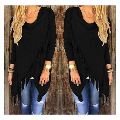 Dámský svetr na způsob ponča - třásně - černá, velikost 4
