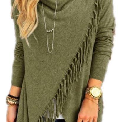 Dámský svetr na způsob ponča - třásně - Zelená, velikost 5