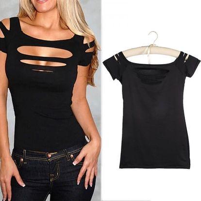Dámské potrhané tričko v černé barvě - velikost 6