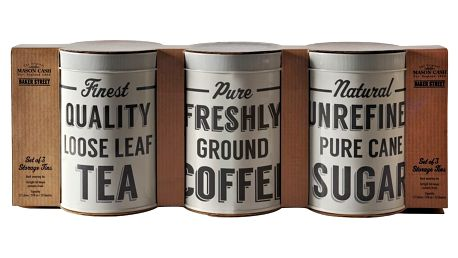 Sada 3 dóz na kávu, čaj a cukr MasonCash Baker Lane
